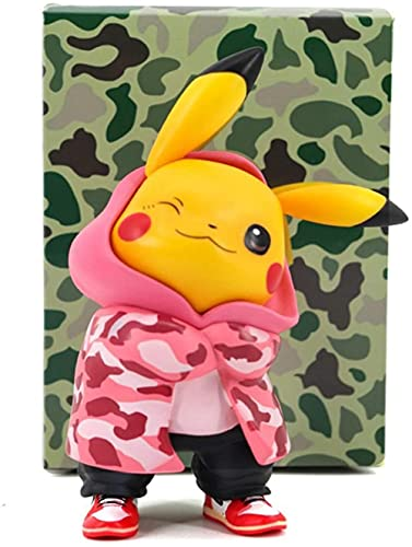 Adornos Decorativos Pokemon Camuflaje Ropa Pickup Tres Colores Tienda de la Marea Pikachu Q Versión Muñeca en Caja Modelo Mano Decoración (Color: Rosa)-Rosa