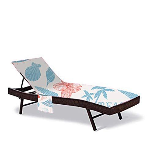 HANSHI Cubierta de Silla de Playa, Chaise de Patio Cubiertas de Silla de salón para Piscina Tumbona Sillas al Aire Libre Toalla con convenientes Bolsillos de Almacenamiento (Color # 2)