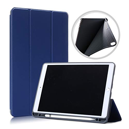 Gylint Case for iPad Air 10.5' (3rd Gen) 2019/iPad Pro 10.5' 2017 with Pencil Holder, [SlimShell] Ultra Slim Soft TPU Back Lightweight Trifold Standing Protective Cover with Auto Wake/Sleep Navy Blue