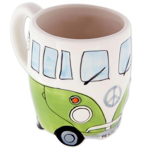 Camper Bus Tasse Wohnmobil Tasse - cremefarben-grün, aus Keramik, handbemalt, Füllmenge: 350 ml.