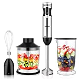 Hand Blender Immersion YISSVIC 1000W 4-in-1 9-Speed with Removable Blending Arm Non-Slip Handle...