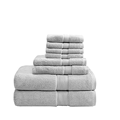 MADISON PARK SIGNATURE 800GSM 8 Piece 100% Cotton Towel Set for Bathroom, 2 Bath Towels, 2 Hand Towels, 4 Washcloths, Premium Long Staple Pile, Spa Luxurious Design, Silver
