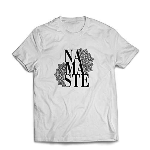 lepni.me Camisetas Hombre Mandala Geometry Namaste Art Yoga Mantra Good Vibe (XXXX-Large Blanco...