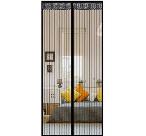 Fliegengitter Balkontür 100 * 210cm Fliegengitter Tür Schwarz mit Magnet und Full-Frame-Klettverschluss für Balkontür Küche Wohnzimmer Terrassentür Bohren