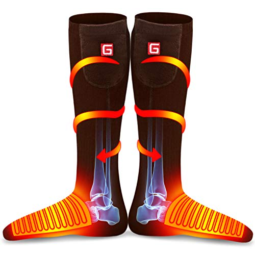IFWATER Electric Heated Socks for Women Men, Rechargeable Electric Socks Battery Heated Socks Foot Warmer for Chronically Cold Foot, Great for Skiing Hiking Motorcycling Warm Winter Socks(Brown)