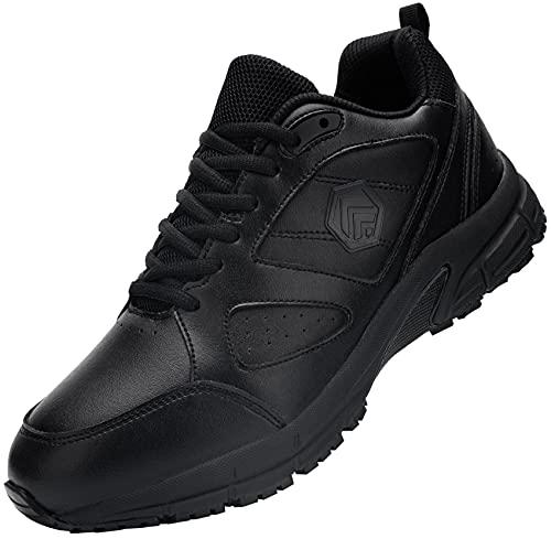 DKMILY DRY Zapatos de Servicio de Alimentos Hombre Zapatos de Restaurante Antideslizantes Zapatos de Trabajo Impermeables(Negro,42)