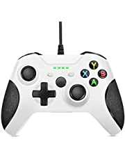 VOYEE Mando con cable mejorado de repuesto para mando Xbox One con conector estéreo de 3,5 mm, compatible con Microsoft Xbox One/X/S/Elite, color blanco