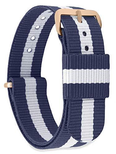 MOMENTO Damen Herren NATO Nylon Ersatz Uhren-Armband Strap mit Edelstahl-Schliesse in Rose-Gold und Nylon-Armband in Blau Weiss 18mm