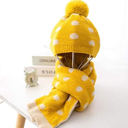 SPNEC Niño Invierno Punto Sombrero y Bufanda niño cálido Punto Sombrero Conjunto bebé niño niñas Oreja protección Gorra con Bufandas (Color : B)