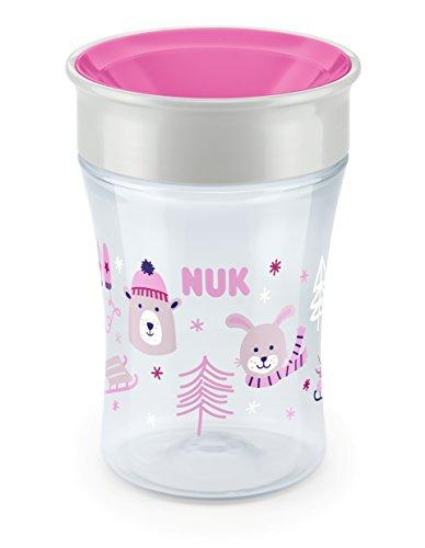 *NUK Magic Cup Trinklernbecher, 360° Trinkrand, auslaufsicher abdichtende Silikonscheibe, ab 8 Monaten, BPA-frei, 230ml, Winter-Edition, rosa*