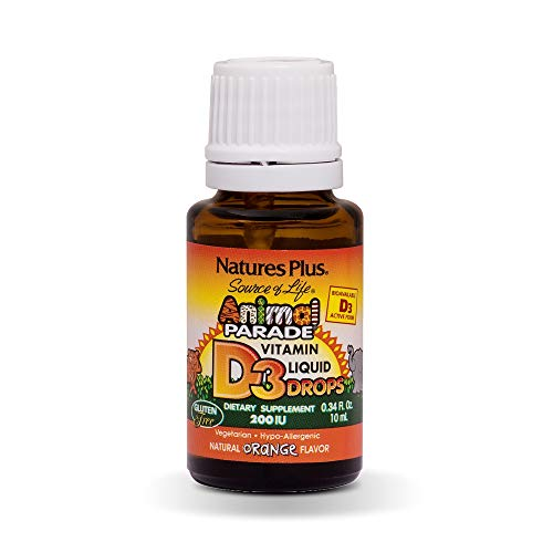 Natures Plus Animal Parade Vitamin D3 200IU Liquid Drops Orange Flavour