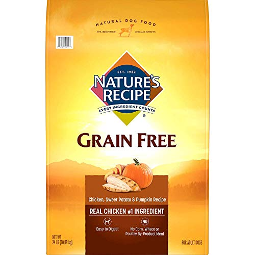 Nature's Recipe Grain Free Easy to Digest Dry Dog Food, Chicken, Sweet Potato & Pumpkin Recipe, 24-Pound