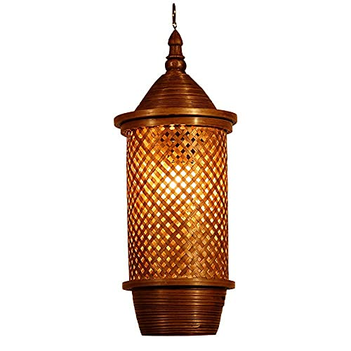 LLLKKK Lámpara de techo de bambú tailandés, estilo retro, lámpara de araña, lámpara de araña, lámpara de techo para casa de campo