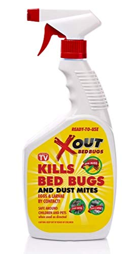 Xout Anti Bed Bug Spray, Kills Bed Bugs and Dust Mites, Eggs and Larva on Contact, Safe Around Children and Pets 16 Ounce Bottle