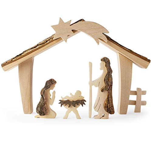 Forest Decor Christmas Wooden Nativity Set with Mary, Joseph, and Baby Jesus, Rustic Christmas Decor, Wood Holiday Decorations Connecticut