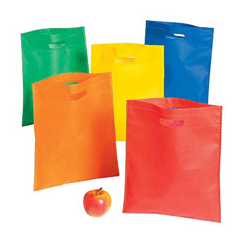 Fun Express Large Reusable Tote Bags with Cut Out Handles (Bulk Set of 50) Shopping Bags, Treat and Gift Bags