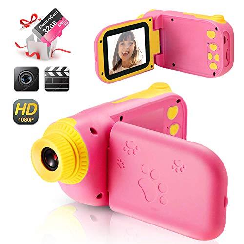 Kinder Digitalkamera Spielzeug Kleinkind Kamera Spielzeug2.4 Inch Bildschirm 1080P Fotografie stoßfeste Kamera mit 32 GB TF-Karte Geschenke Spielzeug für 3 bis 12 Jahre alte Jungen und Mädchen (rosa)