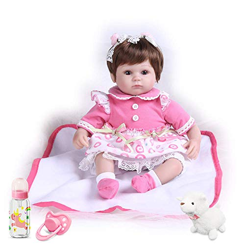 Pompon 16 Inches Real Life Baby Doll Reborn Baby Dolls Girl Look Real Lifelike Newborn Baby Dolls Silicone Vinyl Realistic Baby Doll Light Pink Dress Real Life Baby Doll