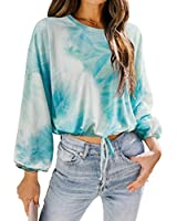 RXRXCOCO Womens Tie Dye Cropped Sweatshirt Long Sleeve Lace Up Crop Top Pullover Green Large