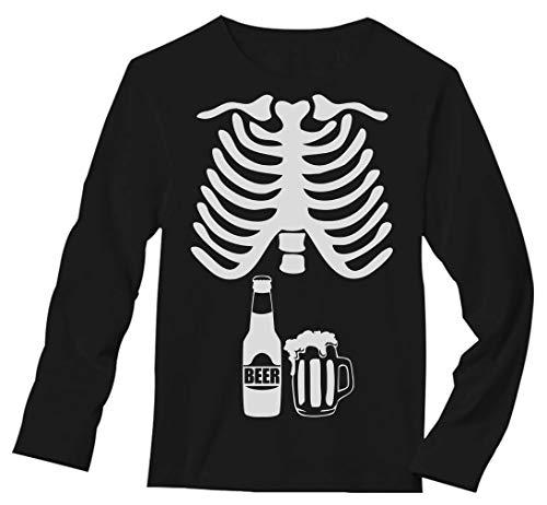 Halloween Skeleton Beer Belly Xray Funny Men's Long Sleeve T-Shirt X-Large Black