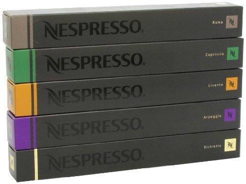 Nespresso 50CAPSULAS Pro Kaffeemaschine–10x Rom, 10x Capriccio 10x LIVANTO 10x Arpeggio 10x Ristretto