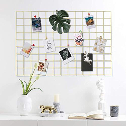 WUZILIN - Estante de Rejilla de Pared para Manualidades, de Hierro, para Colgar Fotos en el tablón de Notas, en la Familia, Cocina, Oficina, etc. Dorado, 45 * 65CM