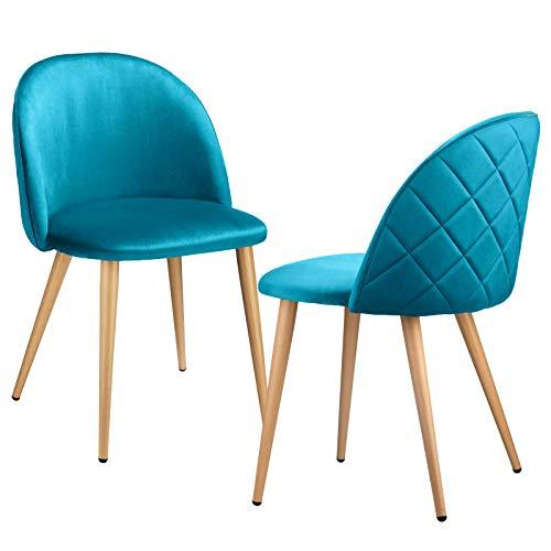 INJOY LIFE - Juego de 2 sillas de comedor de tela de terciopelo retro, sillas de cocina tapizadas con patas de metal, estilo madera, para el hogar, sala de estar y oficina, color azul