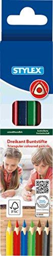STYLEX 26001 Dreikant Buntstifte Lang, FSC Holz, 6-er Set