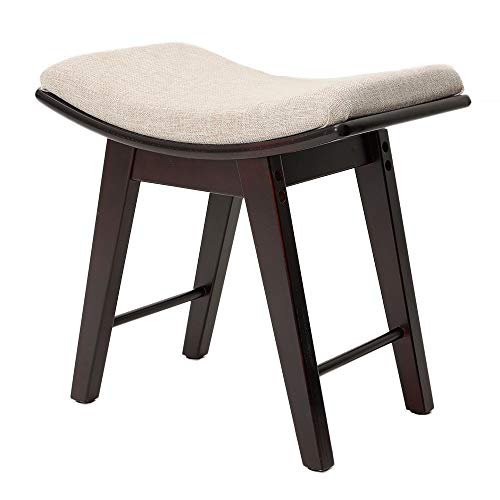 Read About IWELL Vanity Stool with Rubberwood Legs, Makeup Bench Dressing Stool, Padded Cushioned Ch...