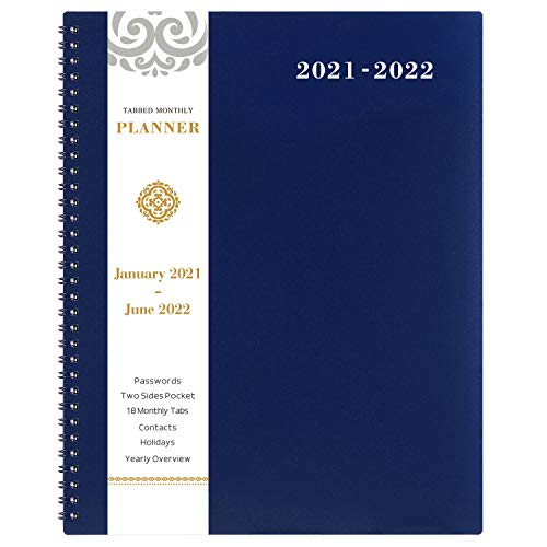 """Product Image 1: 2021-2022 Monthly Planner – 18-Month Planner with Tabs & Pocket & Label, Contacts and Passwords, 9"""" x 11″, Thick Paper, Jan. 2021 – Jun. 2022, Twin-Wire Binding – Navy Blue by Artfan"""