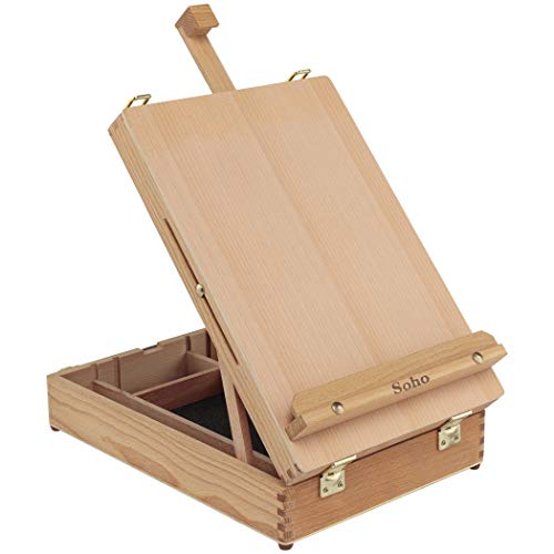 Soho Urban Artist Sketch Box and Table Artist Easel - Portable All Media Adjustable Angle Desk Top 5 Storage Compartments Case - Oiled Beech Wood