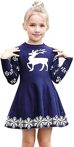 Jacket Vestido de Navidad para bebé y niño, para bebés y niñas, Navidad, Papá Noel, a rayas de ciervo de invierno (color: azul marino, talla: 3-4 años)