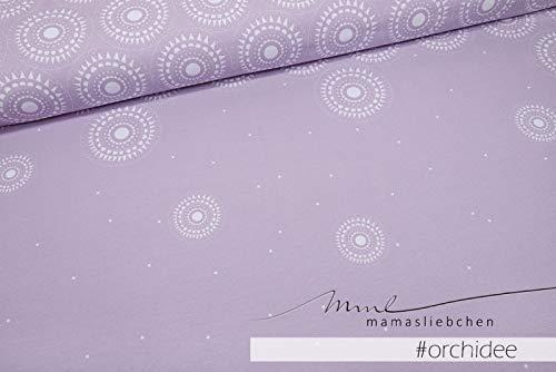 Jersey-Stoff Taniya #Orchidee (1 Panel, ca. 1,0m) Mandala Kreis Panel