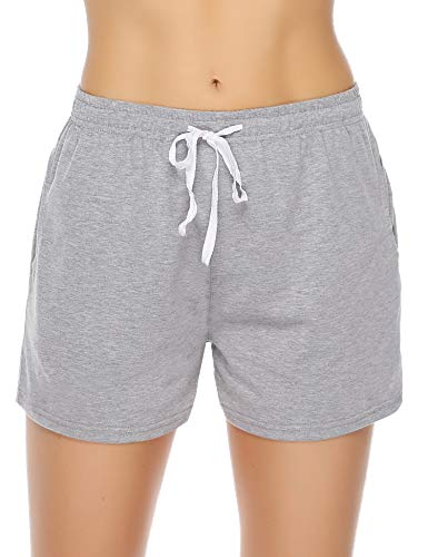 Aibrou Damen Schlafanzughose, Pyjama Shorts Jerseyhose Kurze Pyjamahose Gestreift Shorty Nachtwäsche Grau XL