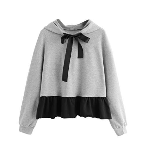 VEMOW Herbst Winter Cute Design Damen Frauen Rüschen Long Sleeve Hoodie beiläufige tägliche Partei Sweatshirt Jumper mit Kapuze Pullover Bow Bluse(Grau, 38 DE/S CN)