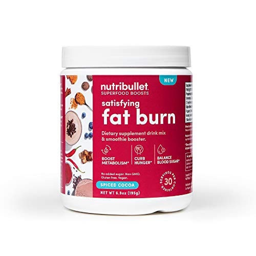 NutriBullet Superfood Boosts – Satisfying Fat Burn (with fiber, thermogenic spice blend & prebiotics to boost metabolism & curb hunger), Spiced Cocoa, 30 Serving Tub, 6.8784 Ounce