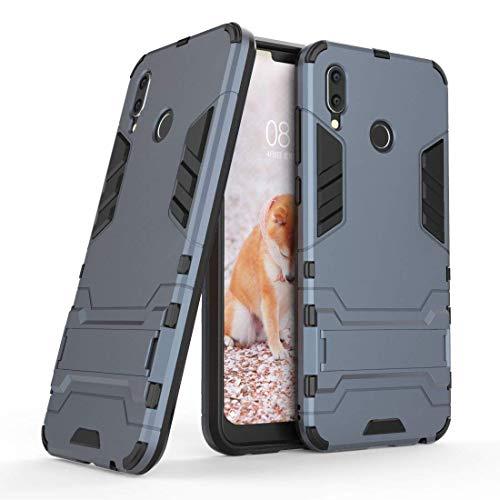 MaiJin Cover per Huawei Honor Play (6,3 Pollici) 2 in 1 Hybrid Dual Layer Completamente Shock Resistente Armour con Cavalletto Funzione Custodia (Blu Nero)