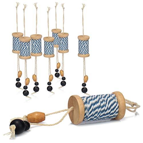 COM-FOUR® hangende decoratie met houten kralen - decoratie om op te hangen in maritieme kleuren - decoratieve hangers in blauw, wit - raamdecoratie (08 stuks - hangers)
