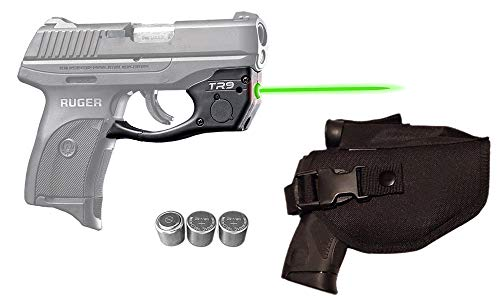 Laser Kit for Ruger LC9, LC9s, LC380, EC9s w/ Tactical Holster, Touch-Activated ArmaLaser TR9-G Green Laser Sight & 2 Extra Batteries