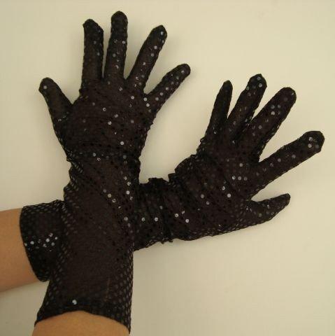 Foxxeo Paillettenhandschuhe Handschuhe Pailletten schwarz Schwarze Handschuh Pailetten Edel Glamour