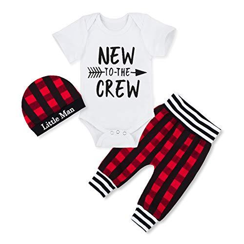 Newborn Baby Boy Clothes New to The Crew Letter Print Short Sleeve Romper+Plaid Pants+Little Man Hat 3PCS Outfits Set 3-6 Months