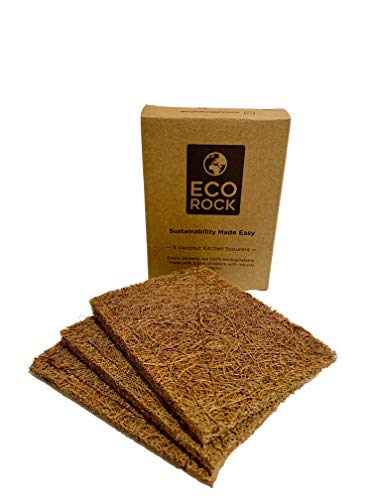 Biodegradable Coconut Kitchen Scourers | Non Scratch | Scrubbers X 3 | Ethically Sourced | A Tough, Flexible, Natural and Eco Friendly Solution for Cleaning your Pots and Pans.