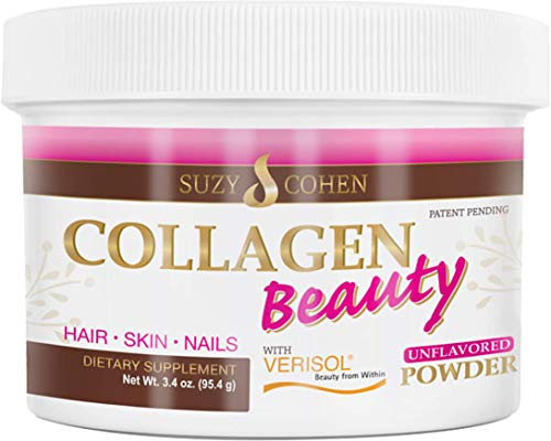 Collagen Beauty Powder By Suzy Cohen (3.3 oz) Anti Aging Hydrolyzed Protein Collagen Powder Type I and III for Supple Skin, Shiny Hair & Strong Nails- Unflavored Powder Drink with Verisol- Made in US