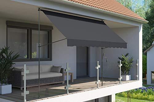 empasa Klemm-Markise \'ILANGA\', UV-beständig und höhenverstellbar, Verschiedene Größen, 150 cm, 200 cm, 300 cm oder 400 cm x 120 cm