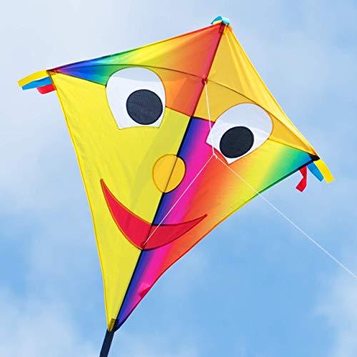 CIM Großer Kinder-Drachen - SUPER DRACHEN Happy Eddy JOKER XL - Einleiner Flugdrachen für Kinder ab 6 Jahren - 90x98cm - inklusiv 80m Drachenschnur und Streifenschwänze