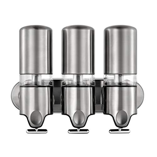 Dispensador de loción Soporte de Pared extraíble de Acero Inoxidable, Manual de Montaje en Pared Gel de Ducha Champú Loción Dispenser1 / 2/3 Cámara Bomba de jabón (Color : 3 Chamber)