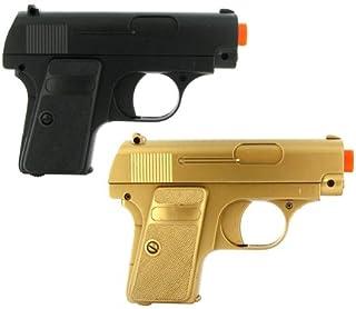 BBTac Airsoft Pistol Guns Twin Pack Spring Pocket Handgun with Storage Case (Gold & Black)