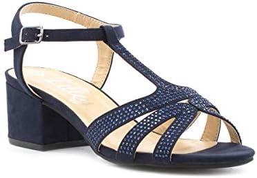 Lilley Womens Navy Block Heel Sandal