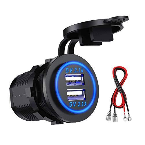 Kibon Auto USB Steckdose Kfz Ladegerät Buchse 12V/24V Wasserdicht Dual USB Kfz Ladebuchse mit 23,6-Zoll-Kabel Doppelte Ladeanschlüsse für 12-V-Auto-Wohnmobil-Boot-Wohnmobil-Motorrad-Mobil