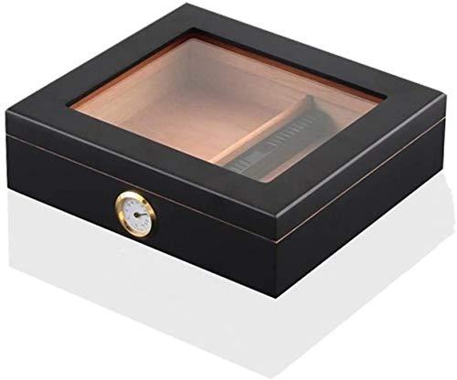 WANGXIAOYUE Caja de cigarros Humidores de cigarros, humidor de Escritorio, Glasstop Templado, Divisor de Cedro y higrómetro de Cristal de Anillo de latón Caja de Tabaco (Color : Black)